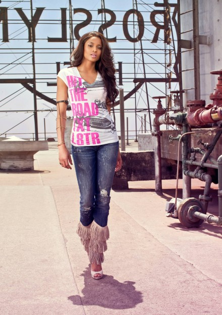 Ciara wearing EXPRESS + RADD hit the road tee in FALL 09 campaign...