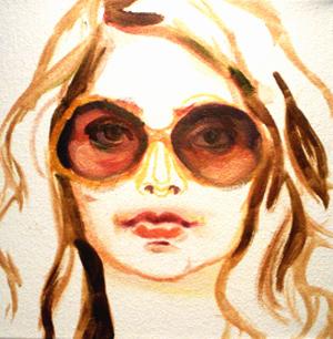 FDM sunglasses at night featuring Alaina Plowdrey painting on fashiondailymag.com