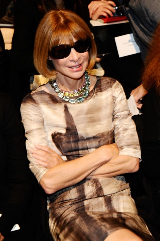 Anna Wintour attends the Carolina Herrera Spring 2011 fashion show during the Mercedes-Benz Fashion Week Spring 2011 Official Coverage at Lincoln Center in New York City. (Photo by Michael Buckner/Getty Images for Mercedes-Benz) on FDM www.fashiondailymag.com by Brigitte Segura