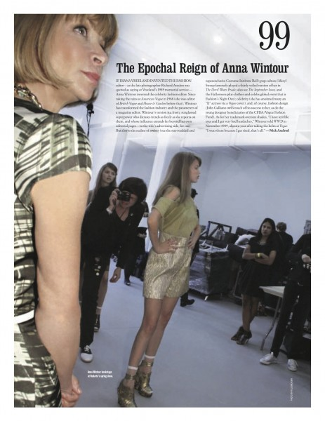 WWD 100 Remarkable Moments #99 Anna Wintour on www.fashiondailymag.com brigitte segura