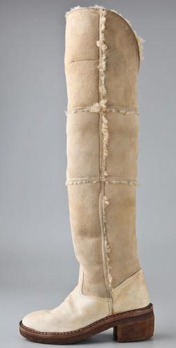 martin margiela SHEARLING overthe knee boots and crepe heel at shopbop on FASHIONDAILYMAG.COM BRIGITTE SEGURA