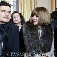 Anna Wintour with Orlando Bloom front row BALENCIAGA f2011 PARIS