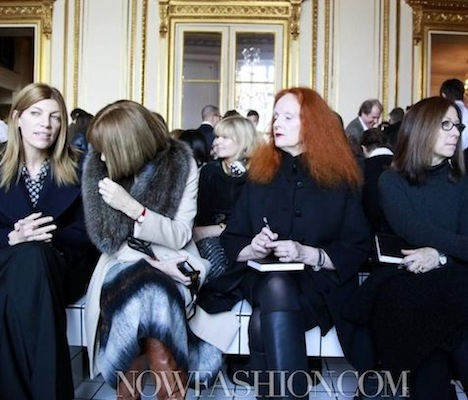 grace coddington and anna wintour at BALENCIAGA FALL 2011-12 paris front row photo nowfashion.com on fashiondailymag.com brigitte segura