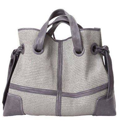 KOOBA rose bag in grey leather + raffia FashionDailyMag brigitte segura