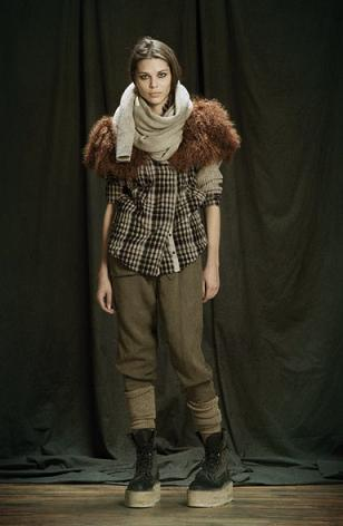 nicholas k fall winter 2011 lookbook 06 fuzzy shoulder + plaid fashiondailymag brigitte segura
