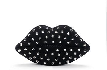 LULU GUINNESS 3068_Black Studded Lips bag FashionDailyMag loves