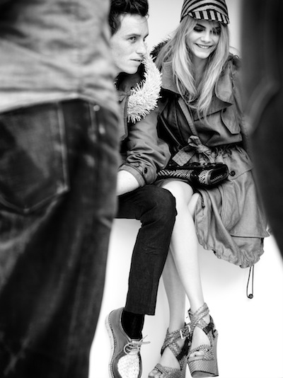 Eddie Redmayne and Cara Delevingne behind the scenes at the Burberry Spring Summer 2012 ad campaign