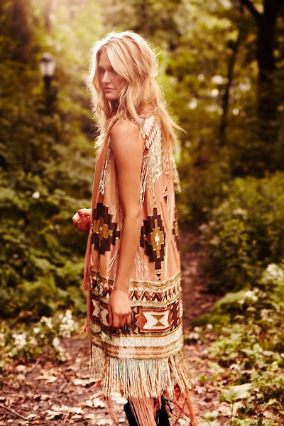 HAUTE HIPPIE campaign patterned dress fringe FashionDailyMag