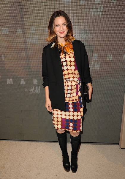 drew barrymore_wearing marni at hm on FashionDailyMag