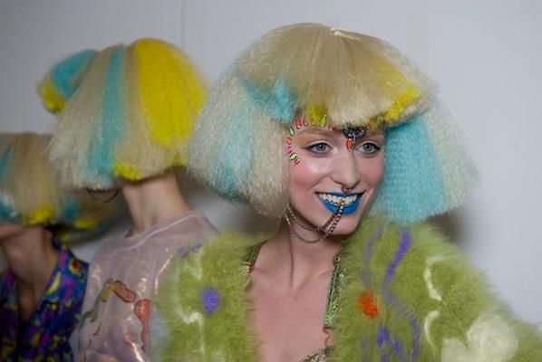 jeremy scott aw12 backstage beauty HAIR fashiondailymag