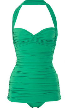 NORMA KAMALI Bill ruched halterneck swimsuit