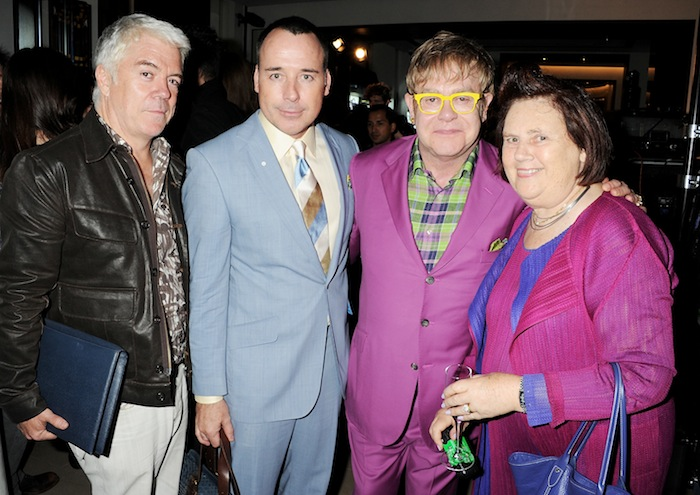 Tim Banks, David Furnish, Sir Elton John, Suzy Menkes at BURBERRY celebration on FashionDailyMag