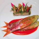 Eating at Hotel Il Pellicano ph Juergen Teller Red Mullet Wrapped in a Zucchini Flower with Bell Pepper Sauce with Argan oil fashiondailymag 8