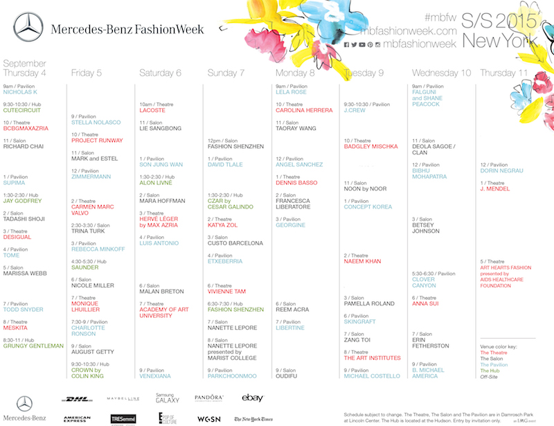 NYFW FDMLOVES LIVESTREAM schedule ss15 FashionDailyMag