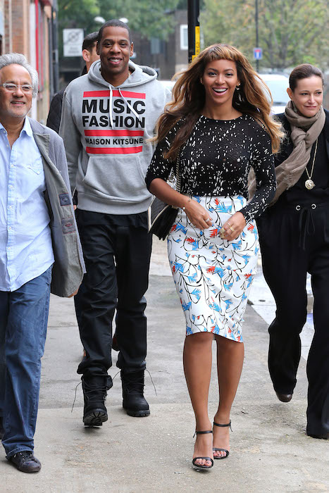Beyonce and husband Jay Z  in maison kitsune FashionDailyMag