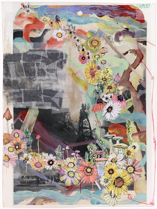 sage vaughn (Draco) 2015 Acrylic, Handmade Paper, Paper Towels, and Velum on Paper 45.5 inches x 61 inches press