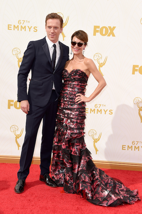 Actors Damian Lewis (L) and Helen McCrory attend the 67th Annual Primetime Emmy Awards