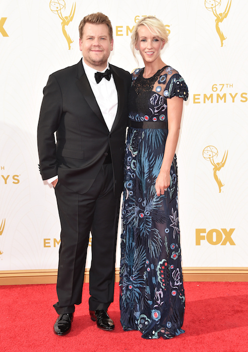 James Corden (L) and producer Julia Carey Emmys 2015