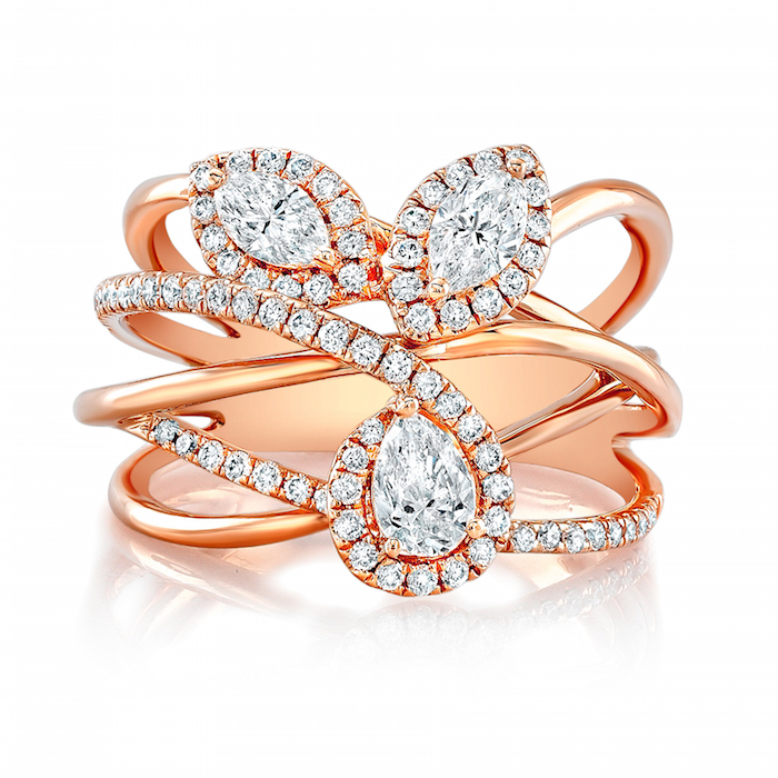 Forevermark by Natalie K. Pear and Marquise Diamond Ring set in 18k Rose Gold