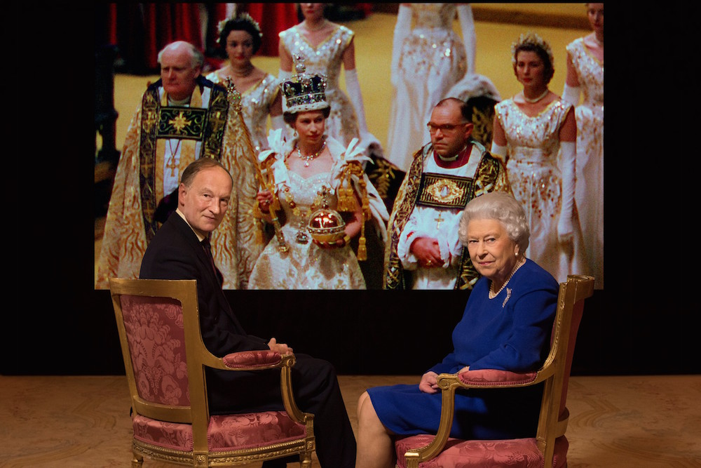 coronation 65 Her Majesty the Queen & Alastair Bruce with archive Photo Julian Calder (C) Her Majesty the Queen
