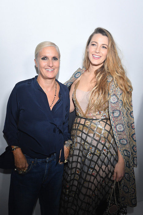 blake lively in dior with mmaria grazia chiuri fashiondailymag