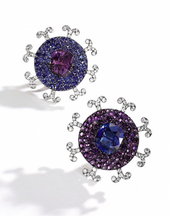 Amethyst, Ceylon sapphire and diamond ear clips, JAR - Magnificent Jewels and Noble Jewels Sotheby's Geneva 13 nov 2019