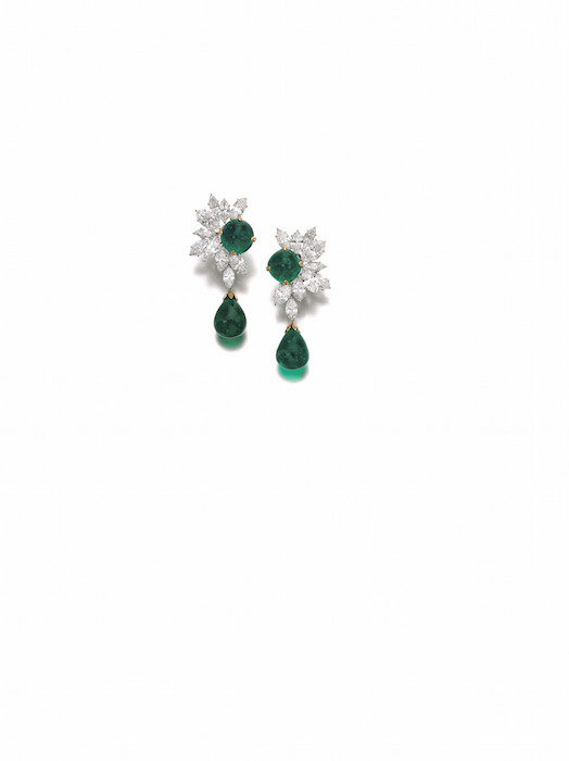 Colombian emerald and diamond earrings - Harry Winston - Magnificent Jewels and Noble Jewels Sotheby's Geneva 13 nov 2019
