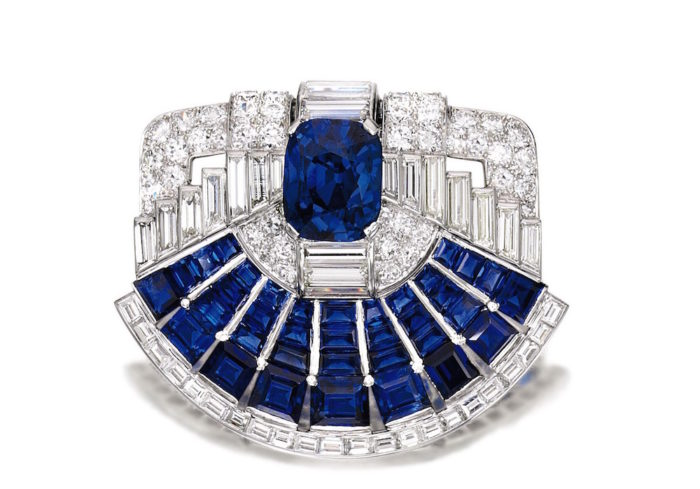 Sapphire and Diamond Brooch-clip, Cartier, 1937 fashiondailymag brigitteseguracurator
