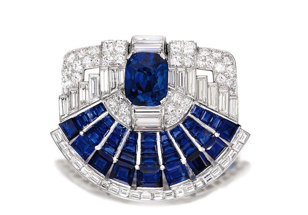 Sapphire and Diamond Brooch-clip, Cartier, 1937 fashiondailymag brigitteseguracurator