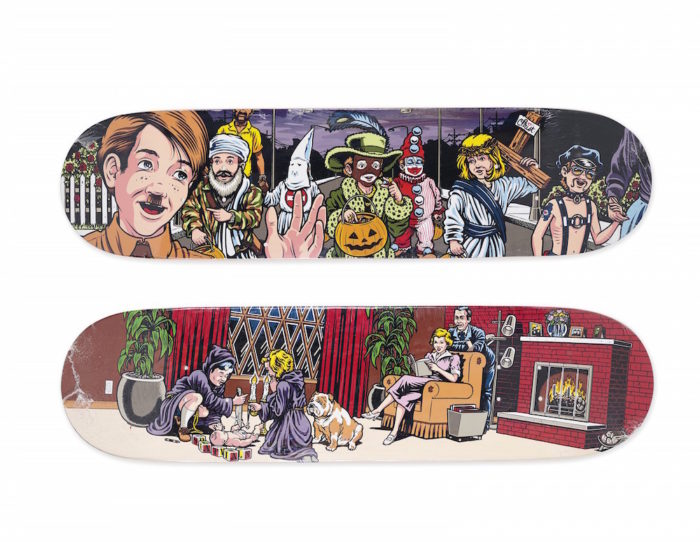 214_A SET OF 2 SEAN CLIVER HALLOWEEN SKATEBOARDS