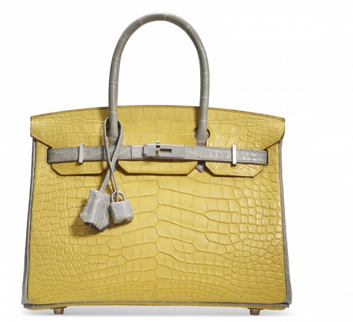 A CUSTOM MATTE MIMOSA AND GRIS PERLE ALLIGATOR BIRKIN 30 WITH BRUSHED PALLADIUM HARDWARECHANEL and BIRKIN handbags x hype christies FashionDailyMag fashion brigitteseguracurator