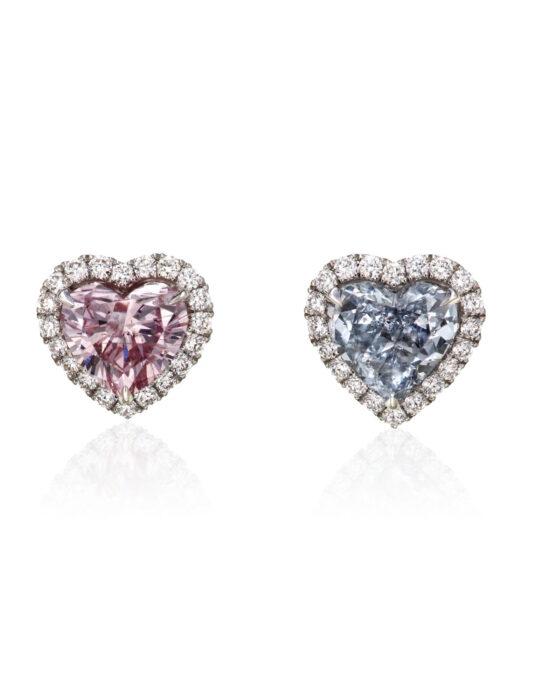 February 2021 - Coloured heart shaped diamond earrings - Christie;s online - estimate $40,000-60,000 FashionDailyMag