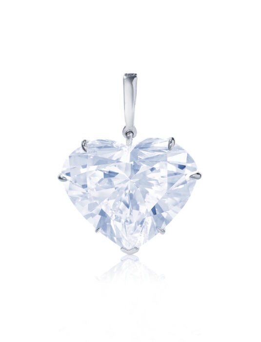 May 2021 53.53 cts heart spaed diamond pendant - Chrisite's Geneva - estimate $2-3 million