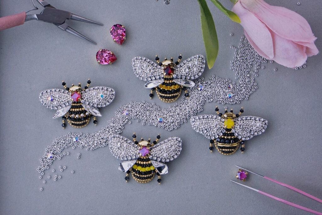 Savytska YS Brand Jewellery Brooches Paradise Bees fashiondailymag